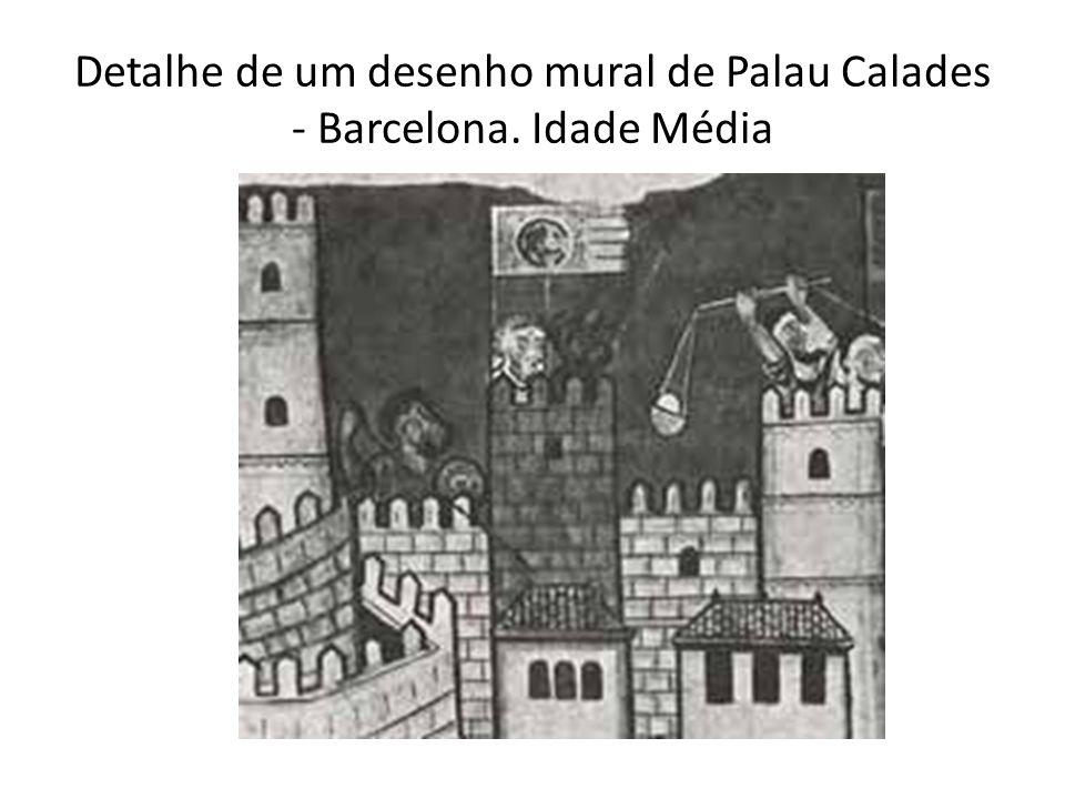 Detalhe de um desenho mural de Palau Calades - Barcelona. Idade Média
