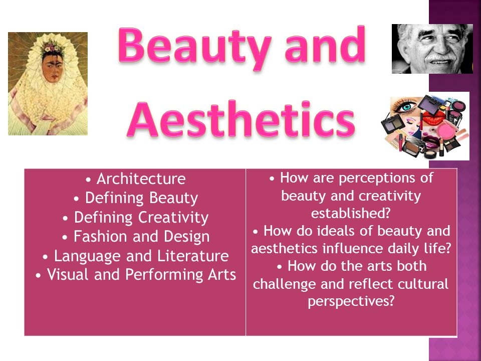 Architecture Defining Beauty Defining Creativity Fashion and Design Language and Literature Visual and Performing Arts How are perceptions of beauty and creativity established.