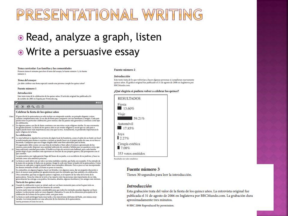  Read, analyze a graph, listen  Write a persuasive essay