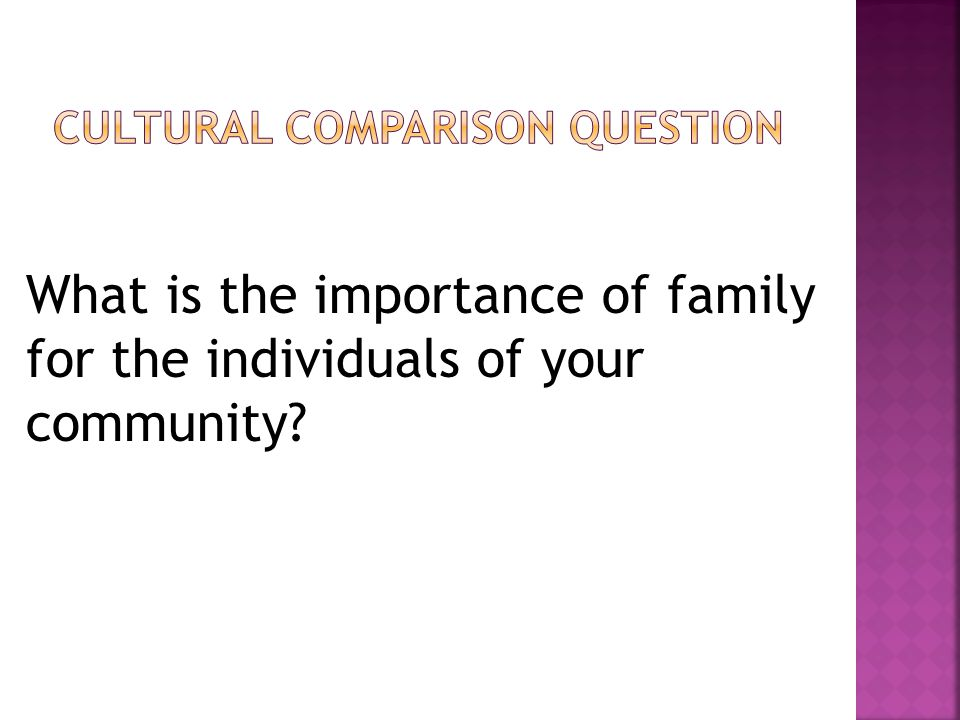 What is the importance of family for the individuals of your community