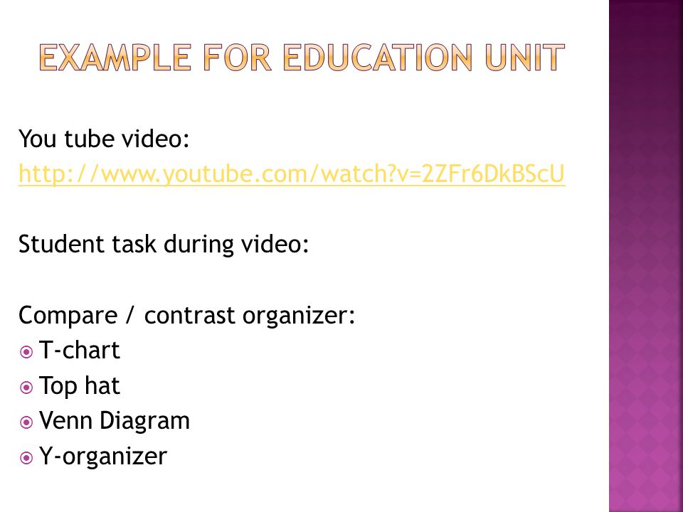 You tube video:   v=2ZFr6DkBScU Student task during video: Compare / contrast organizer:  T-chart  Top hat  Venn Diagram  Y-organizer