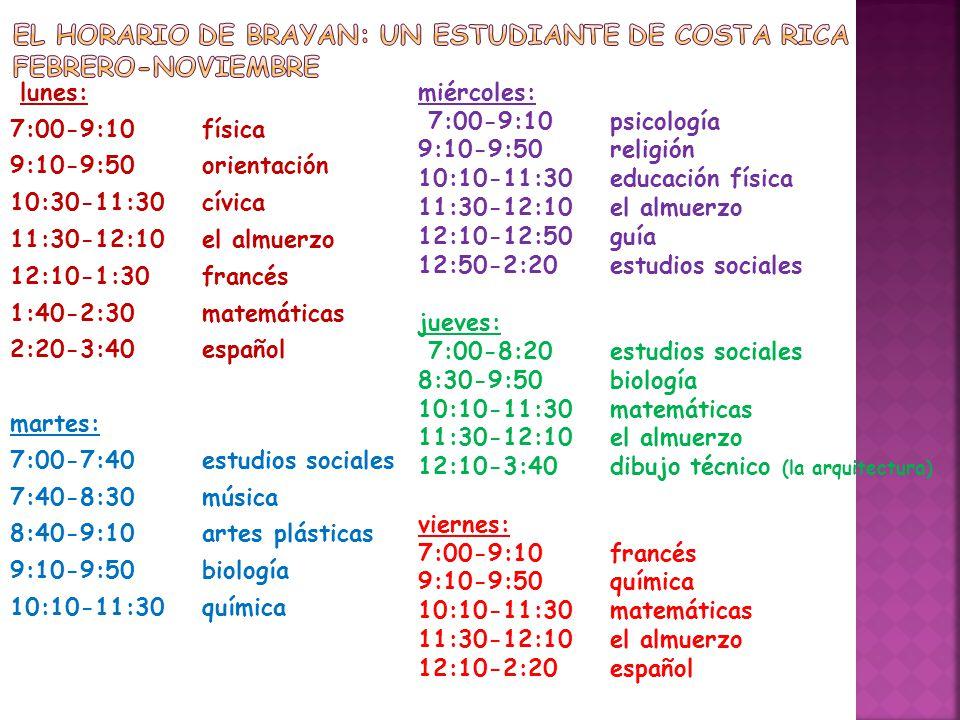 lunes: 7:00-9:10física 9:10-9:50orientación 10:30-11:30cívica 11:30-12:10el almuerzo 12:10-1:30francés 1:40-2:30matemáticas 2:20-3:40español martes: 7