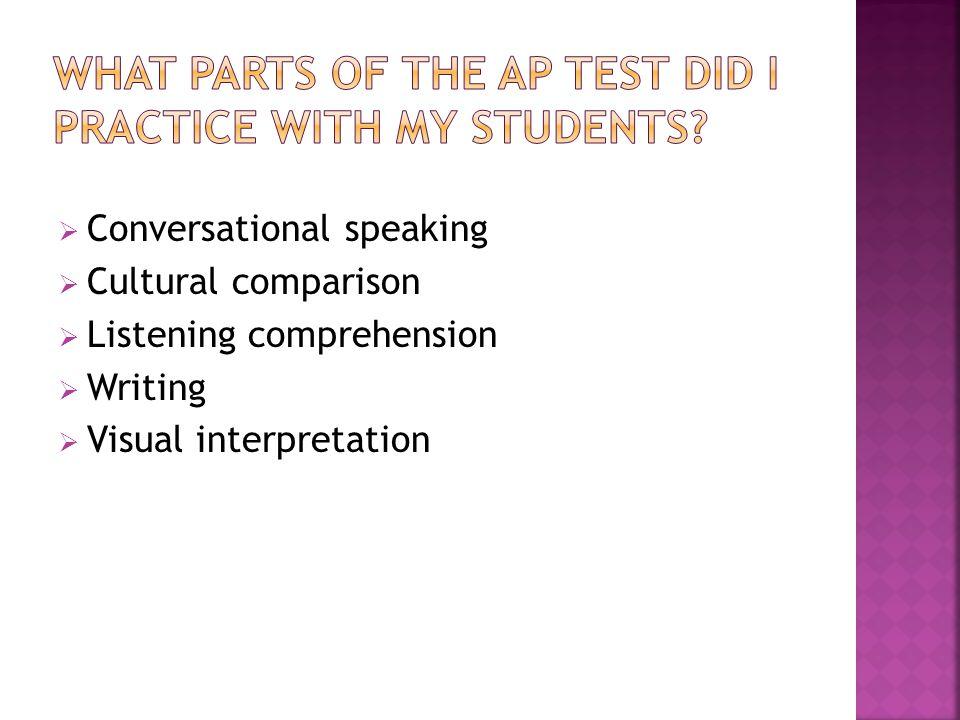  Conversational speaking  Cultural comparison  Listening comprehension  Writing  Visual interpretation