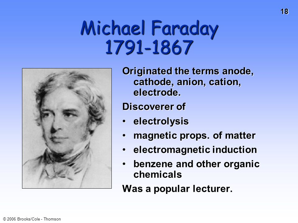 18 © 2006 Brooks/Cole - Thomson Michael Faraday 1791-1867 Originated the terms anode, cathode, anion, cation, electrode. Discoverer of electrolysisele