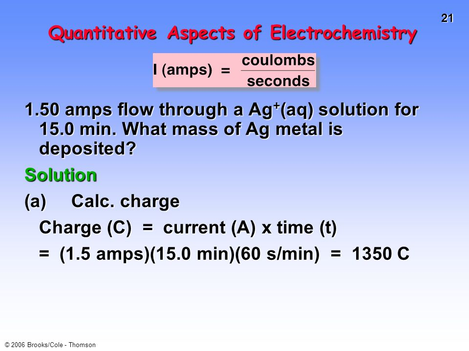 21 © 2006 Brooks/Cole - Thomson Quantitative Aspects of Electrochemistry 1.50 amps flow through a Ag + (aq) solution for 15.0 min.