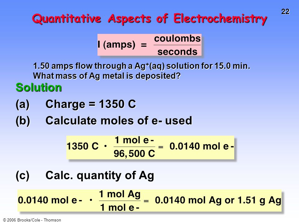 22 © 2006 Brooks/Cole - Thomson Quantitative Aspects of Electrochemistry Solution (a)Charge = 1350 C (b)Calculate moles of e- used 1.50 amps flow through a Ag + (aq) solution for 15.0 min.