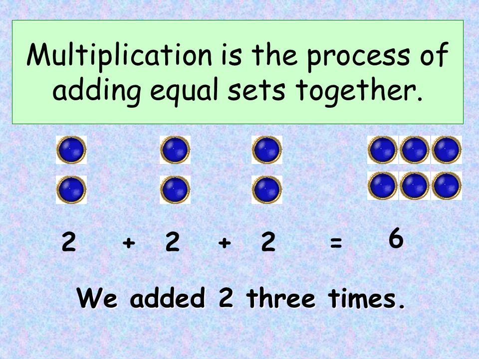 Instead of repeatedly adding, we can multiply. x 2 3 6