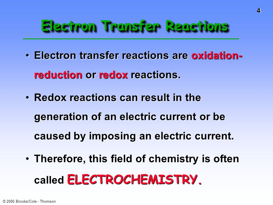 25 © 2006 Brooks/Cole - Thomson Zn/Cu Electrochemical Cell Zn(s) ---> Zn 2+ (aq) + 2e-E o = +0.76 V Cu 2+ (aq) + 2e- ---> Cu(s)E o = +0.34 V --------------------------------------------------------------- Cu 2+ (aq) + Zn(s) ---> Zn 2+ (aq) + Cu(s) E o (calc'd) = +1.10 V Cathode, positive, sink for electrons Anode, negative, source of electrons +