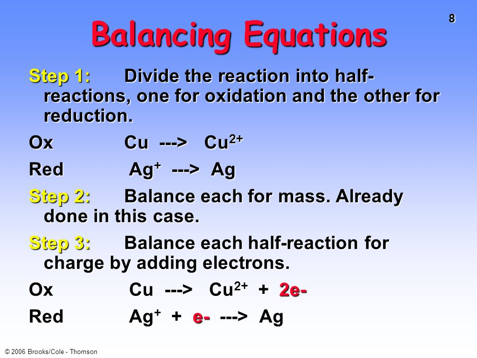 39 © 2006 Brooks/Cole - Thomson E o and ∆G o ∆G o = - n F E o For a product-favored reaction Reactants ----> Products Reactants ----> Products ∆G o 0 E o is positive For a reactant-favored reaction Reactants <---- Products Reactants <---- Products ∆G o > 0 and so E o 0 and so E o < 0 E o is negative