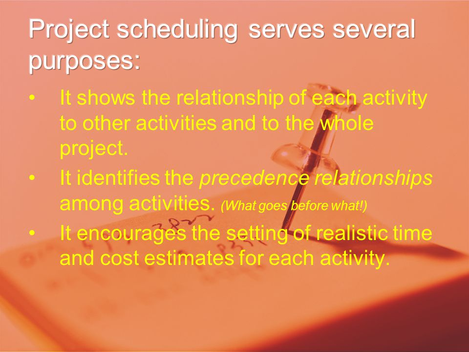 It shows the relationship of each activity to other activities and to the whole project. It identifies the precedence relationships among activities.