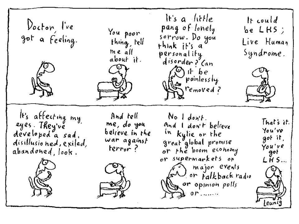 IDEAL Leunig is advocating in his essay that what the majority of people see as sanity may in fact be madness.