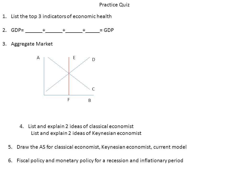 Practice Quiz 1.List the top 3 indicators of economic health 2.GDP= ______+______+______+_____= GDP 3.Aggregate Market A B C D E F 4.List and explain 2 ideas of classical economist List and explain 2 ideas of Keynesian economist 5.Draw the AS for classical economist, Keynesian economist, current model 6.Fiscal policy and monetary policy for a recession and inflationary period