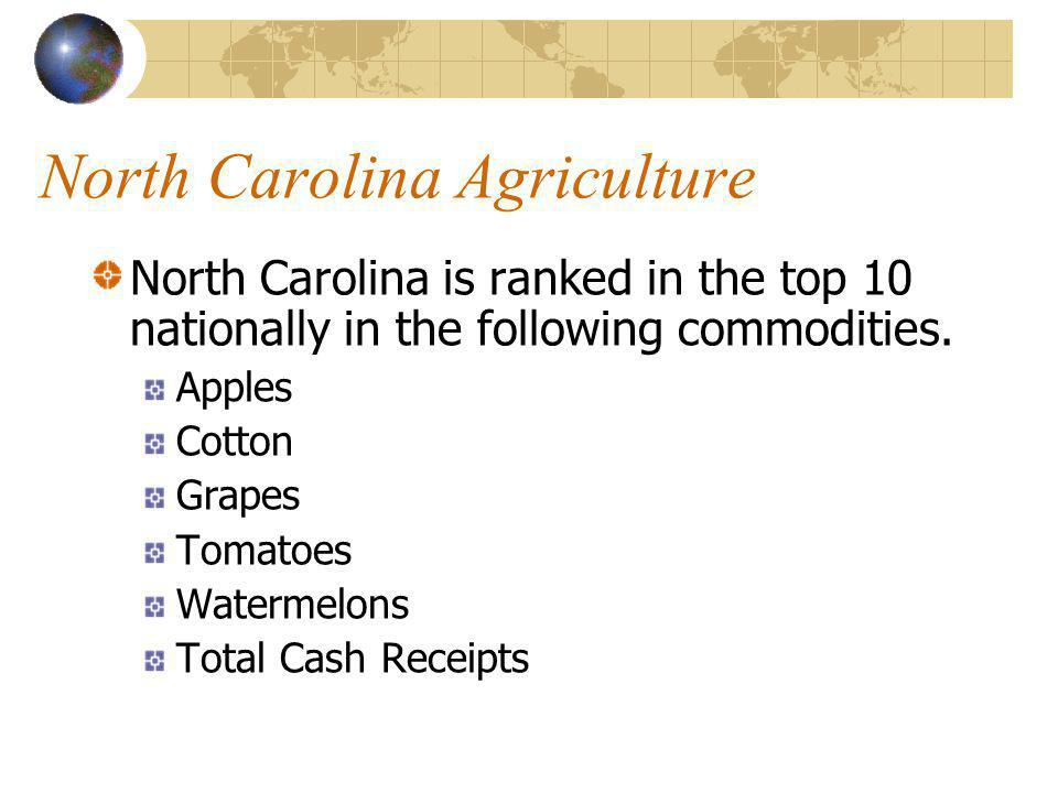 North Carolina Agriculture North Carolina is #5 in the following commodities. Catfish Peanuts Snap Beans