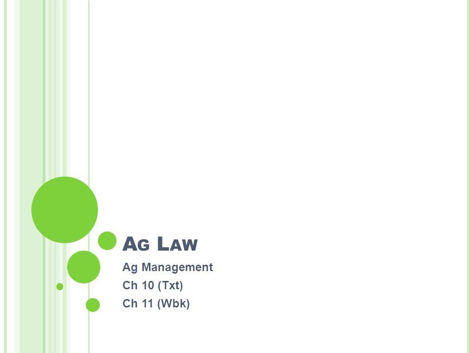 A G L AW Ag Management Ch 10 (Txt) Ch 11 (Wbk)