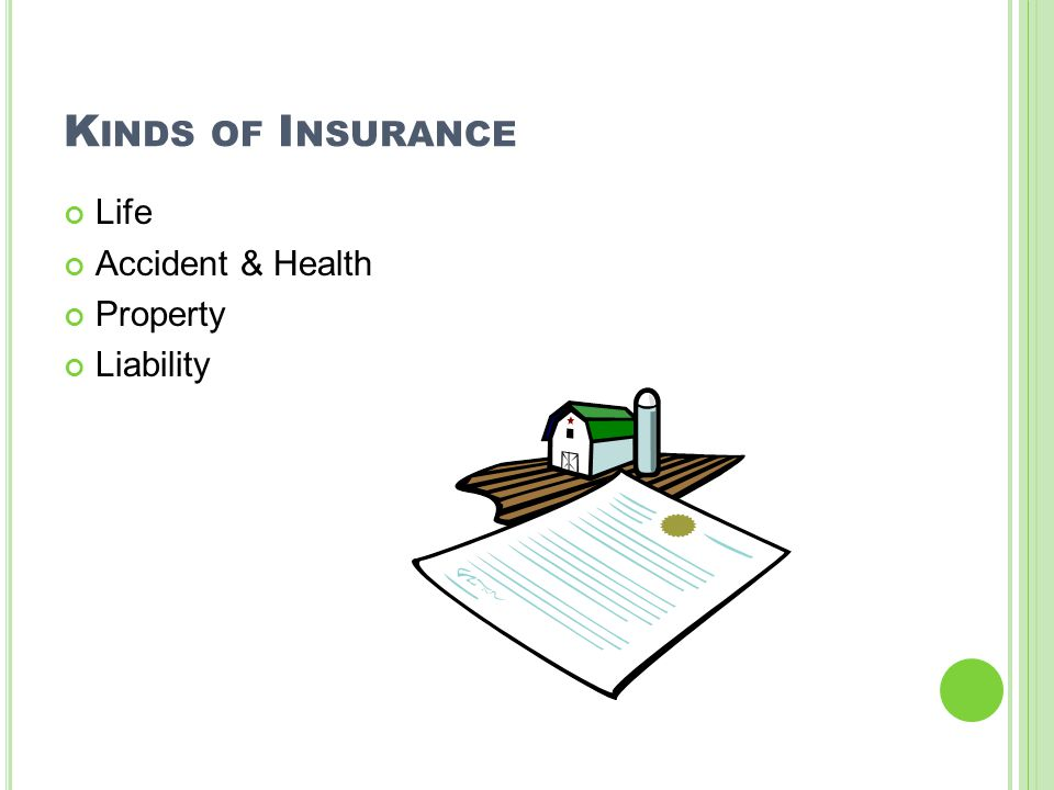 K INDS OF I NSURANCE Life Accident & Health Property Liability