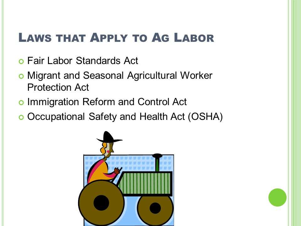 L AWS THAT A PPLY TO A G L ABOR Fair Labor Standards Act Migrant and Seasonal Agricultural Worker Protection Act Immigration Reform and Control Act Occupational Safety and Health Act (OSHA)