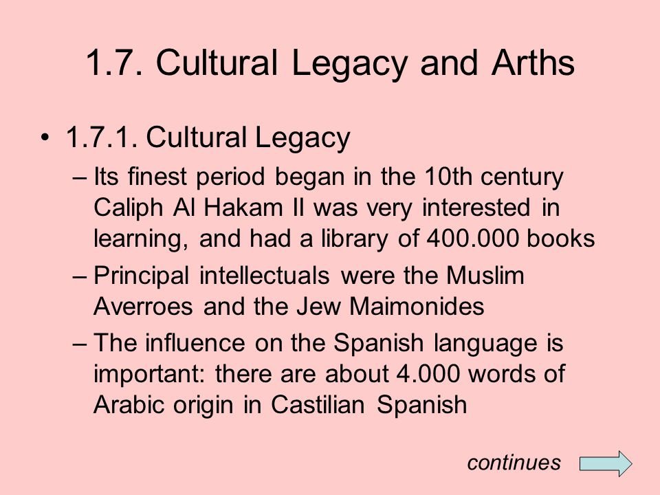 1.7.Cultural Legacy and Arths 1.7.2.