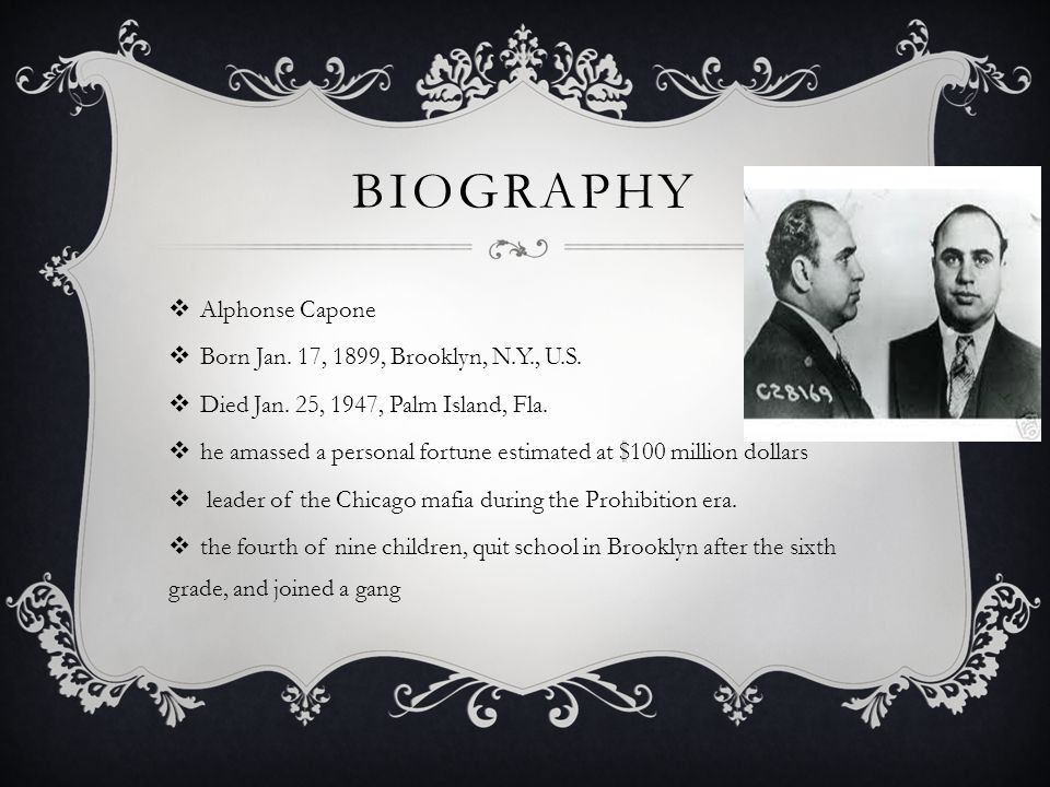 BIO CONTINUED  Responsible For Countless Murders  In 1925 Torrio retired, and Capone became crime czar of Chicago, running gambling, prostitution, and bootlegging rackets and expanding his territories by the gunning down of rival gangs  The most notorious of the bloodlettings was the St.
