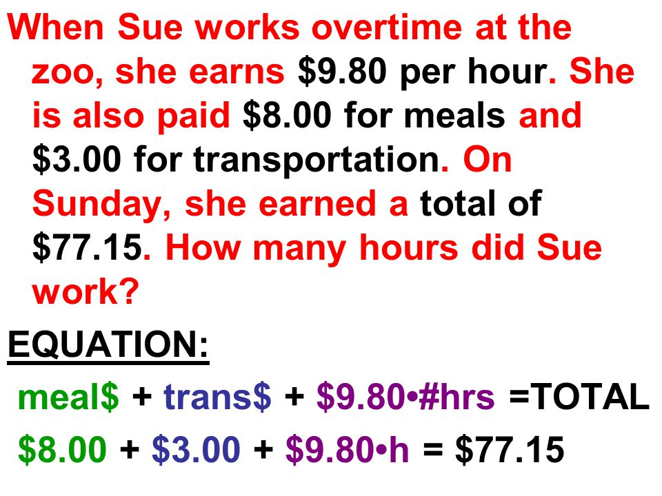 When Sue works overtime at the zoo, she earns $9.80 per hour.