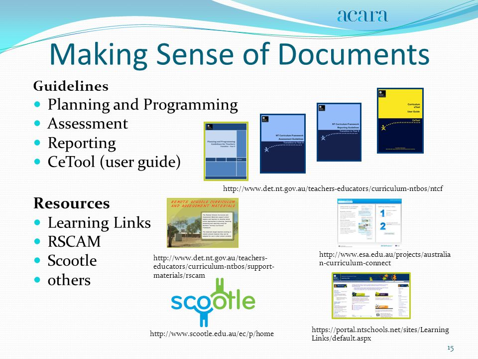 Making Sense of Documents Guidelines Planning and Programming Assessment Reporting CeTool (user guide) http://www.det.nt.gov.au/teachers-educators/curriculum-ntbos/ntcf Resources Learning Links RSCAM Scootle others 15 http://www.scootle.edu.au/ec/p/home https://portal.ntschools.net/sites/Learning Links/default.aspx http://www.esa.edu.au/projects/australia n-curriculum-connect http://www.det.nt.gov.au/teachers- educators/curriculum-ntbos/support- materials/rscam