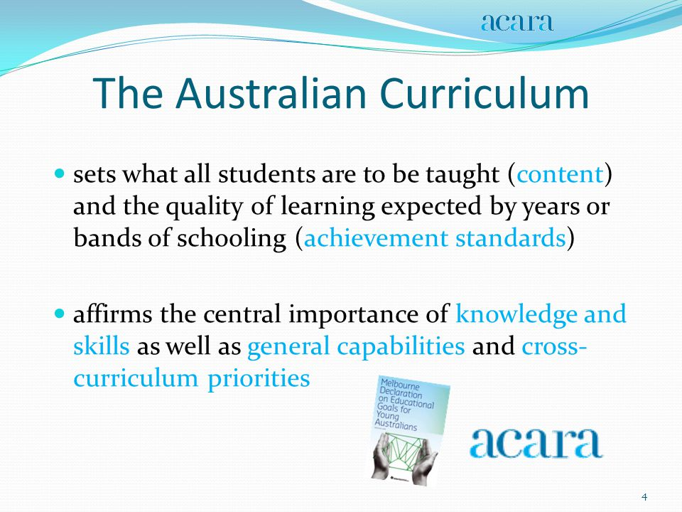 Australian Curriculum Aims The Australian Curriculum aims to: o help to ensure all young Australians are equipped with the skills, knowledge and capabilities that provide a foundation for successful and lifelong learning and participation in the Australian community o make clear to teachers what is to be taught across the years of schooling o make clear to students what they should learn and the quality of the learning expected of them 5