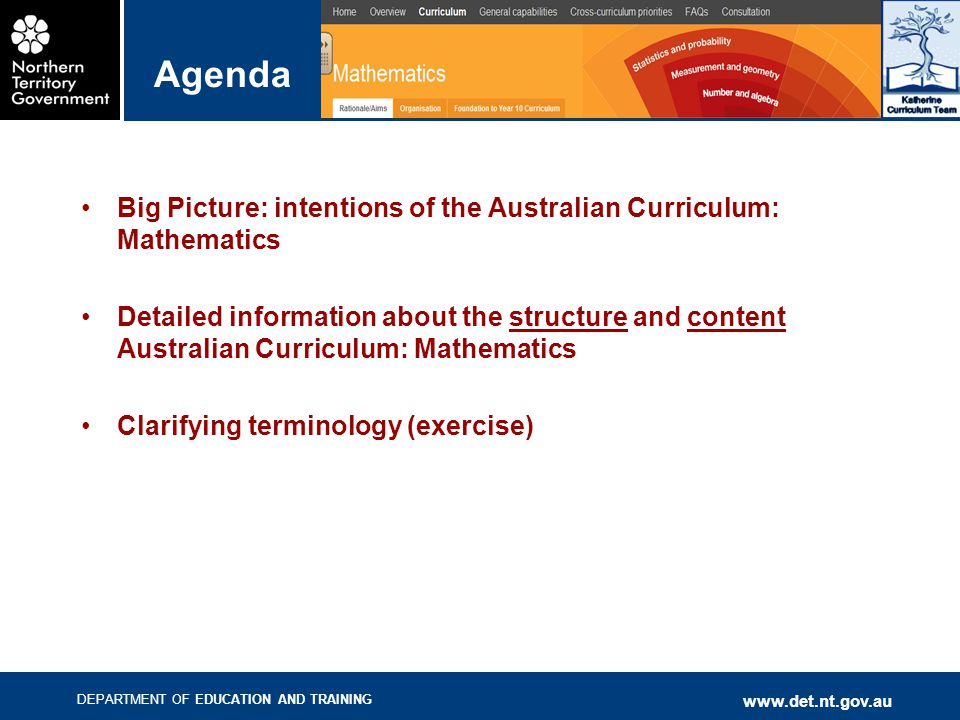 DEPARTMENT OF EDUCATION AND TRAINING   Agenda Big Picture: intentions of the Australian Curriculum: Mathematics Detailed information about the structure and content Australian Curriculum: Mathematics Clarifying terminology (exercise)