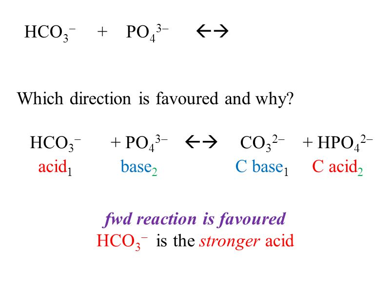 HCO 3 – + PO 4 3–  Which direction is favoured and why.