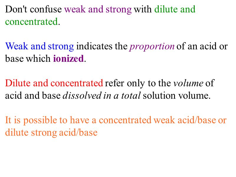 Don't confuse weak and strong with dilute and concentrated. Weak and strong indicates the proportion of an acid or base which ionized. Dilute and conc