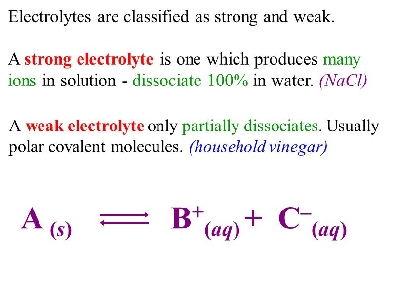 Electrolytes are classified as strong and weak. A strong electrolyte is one which produces many ions in solution - dissociate 100% in water. (NaCl) A