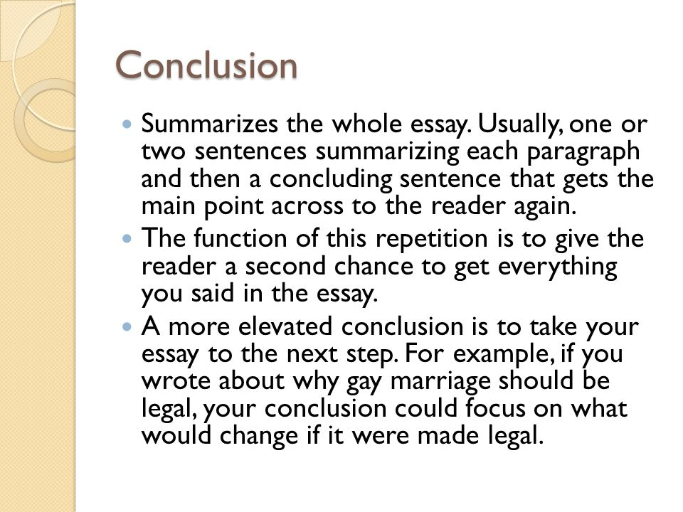 Gay Marriage Thesis Statement