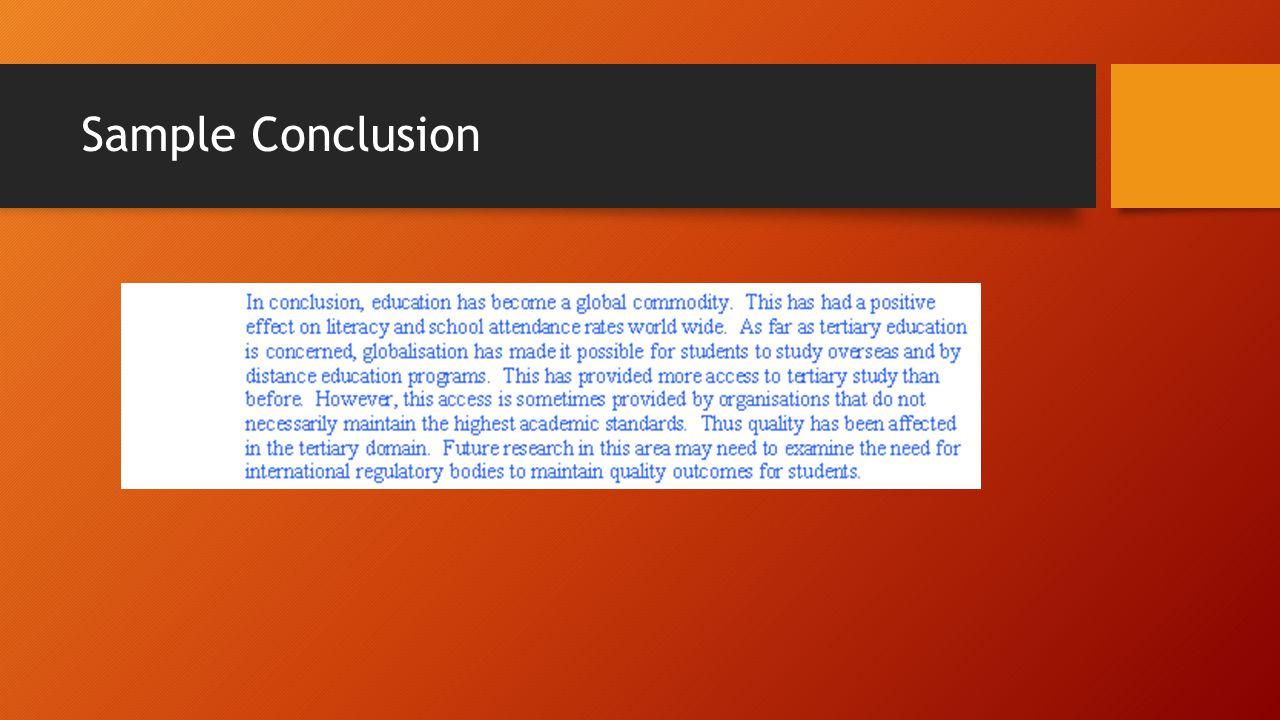 Sample Conclusion