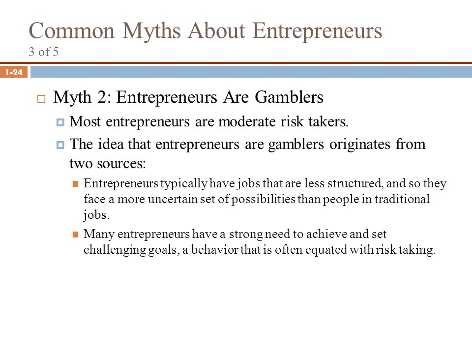 1-24 Common Myths About Entrepreneurs 3 of 5  Myth 2: Entrepreneurs Are Gamblers  Most entrepreneurs are moderate risk takers.  The idea that entre