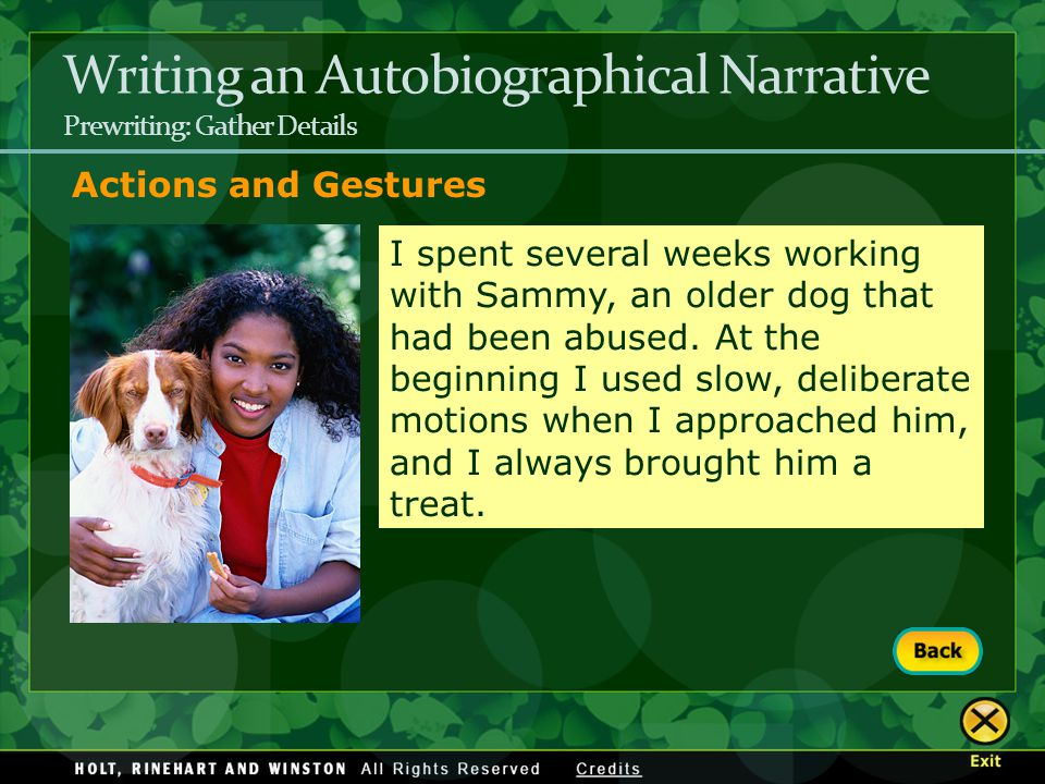 Writing an Autobiographical Narrative Prewriting: Gather Details Actions and Gestures I spent several weeks working with Sammy, an older dog that had
