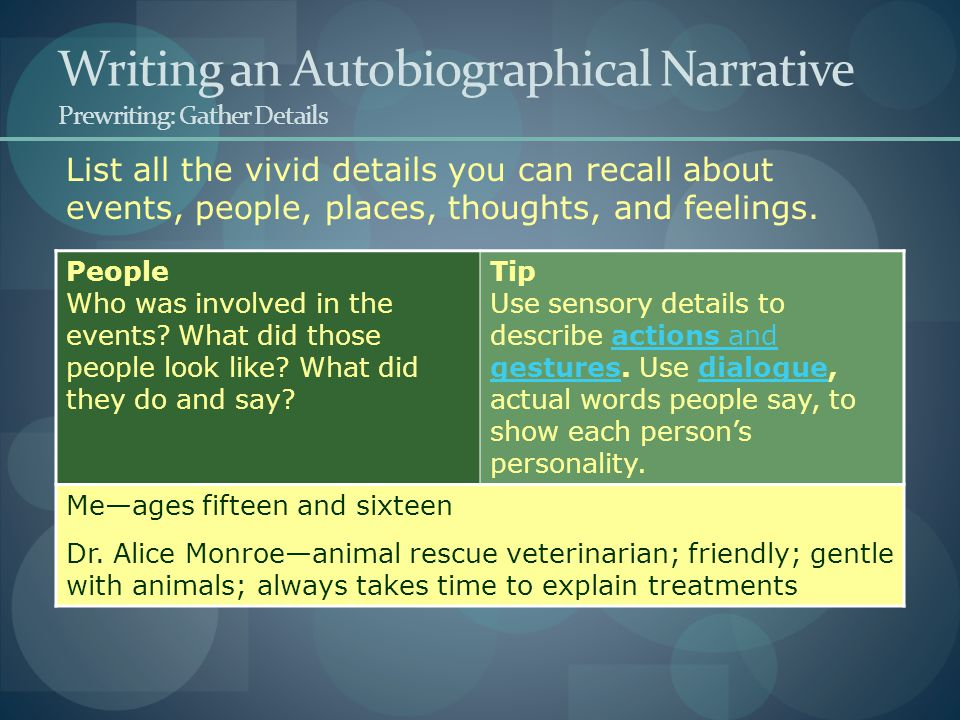 List all the vivid details you can recall about events, people, places, thoughts, and feelings. Writing an Autobiographical Narrative Prewriting: Gath