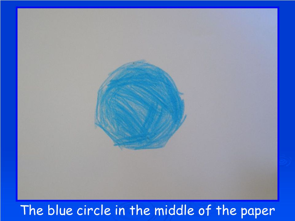 The blue circle in the middle of the paper