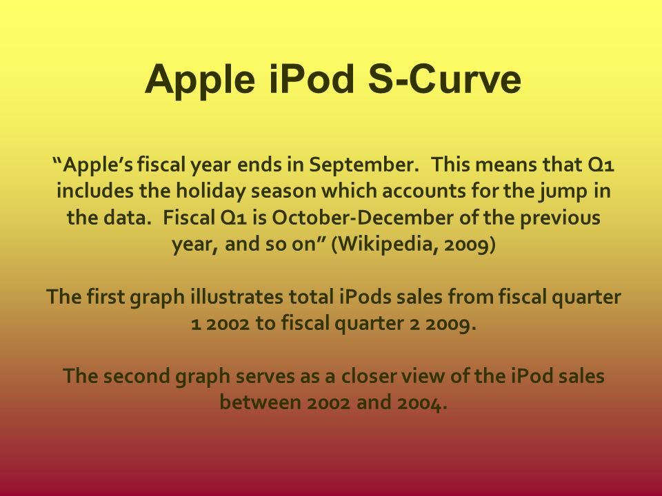 """Apple iPod S-Curve """"Apple's fiscal year ends in September. This means that Q1 includes the holiday season which accounts for the jump in the data. Fis"""