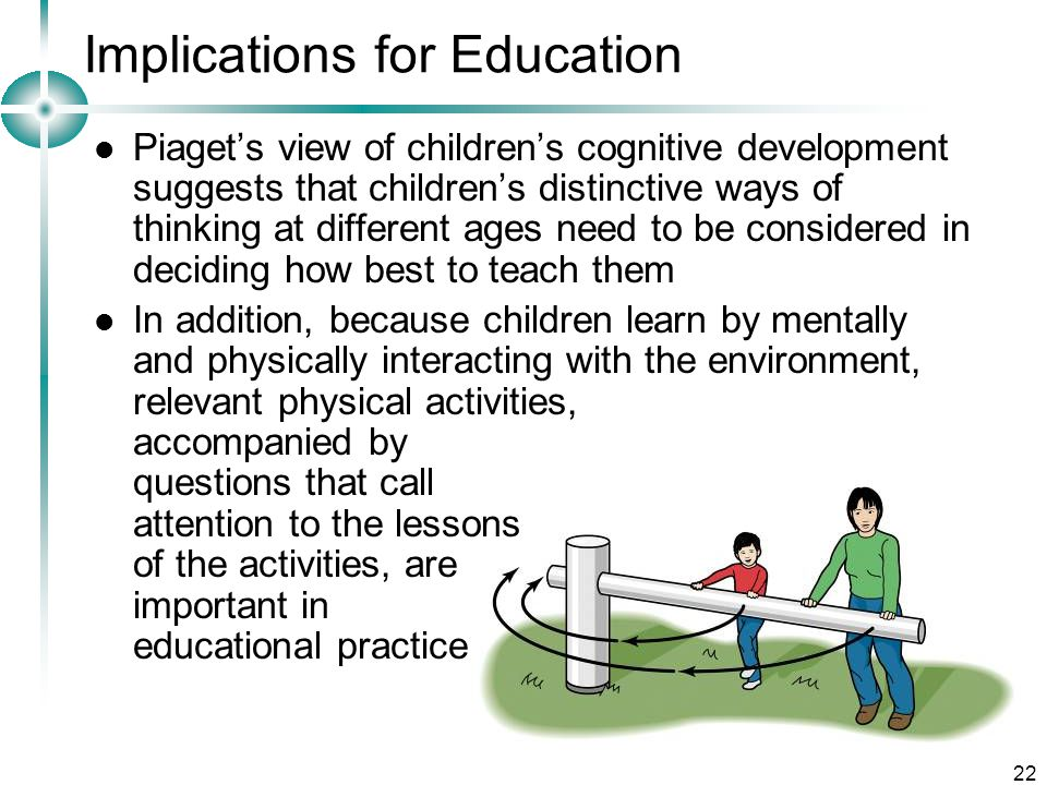 22 Implications for Education Piaget's view of children's cognitive development suggests that children's distinctive ways of thinking at different ages need to be considered in deciding how best to teach them In addition, because children learn by mentally and physically interacting with the environment, relevant physical activities, accompanied by questions that call attention to the lessons of the activities, are important in educational practice