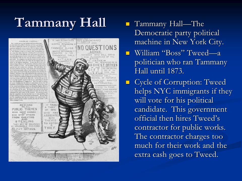 """Tammany Hall Tammany Hall—The Democratic party political machine in New York City. William """"Boss"""" Tweed—a politician who ran Tammany Hall until 1873."""