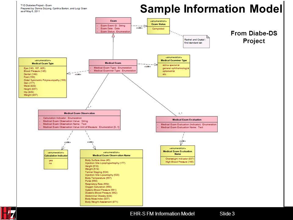 Slide 3 EHR-S FM Information Model Sample Information Model From Diabe-DS Project