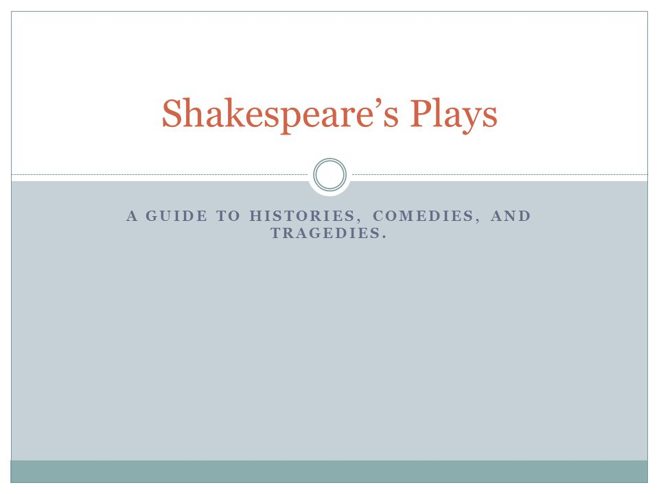 A GUIDE TO HISTORIES, COMEDIES, AND TRAGEDIES. Shakespeare's Plays