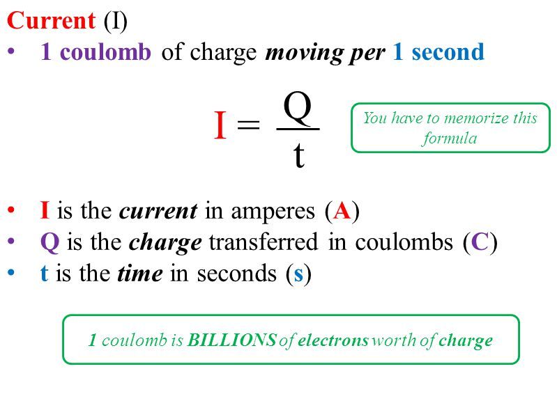 I is the current in amperes (A) Q is the charge transferred in coulombs (C) t is the time in seconds (s) Current (I) 1 coulomb of charge moving per 1 second I = Q t You have to memorize this formula 1 coulomb is BILLIONS of electrons worth of charge