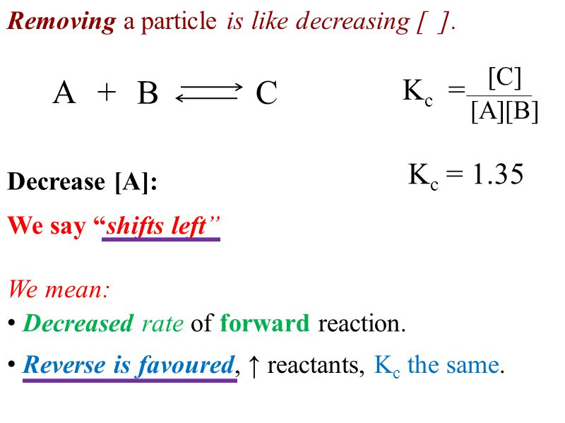 "K c = [C] [A][B] BC A+ K c = 1.35 Removing a particle is like decreasing [ ]. Decreased rate of forward reaction. We say ""shifts left"" We mean: Revers"