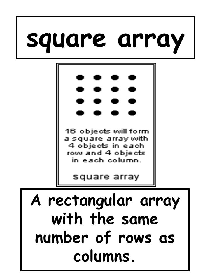 square array A rectangular array with the same number of rows as columns.