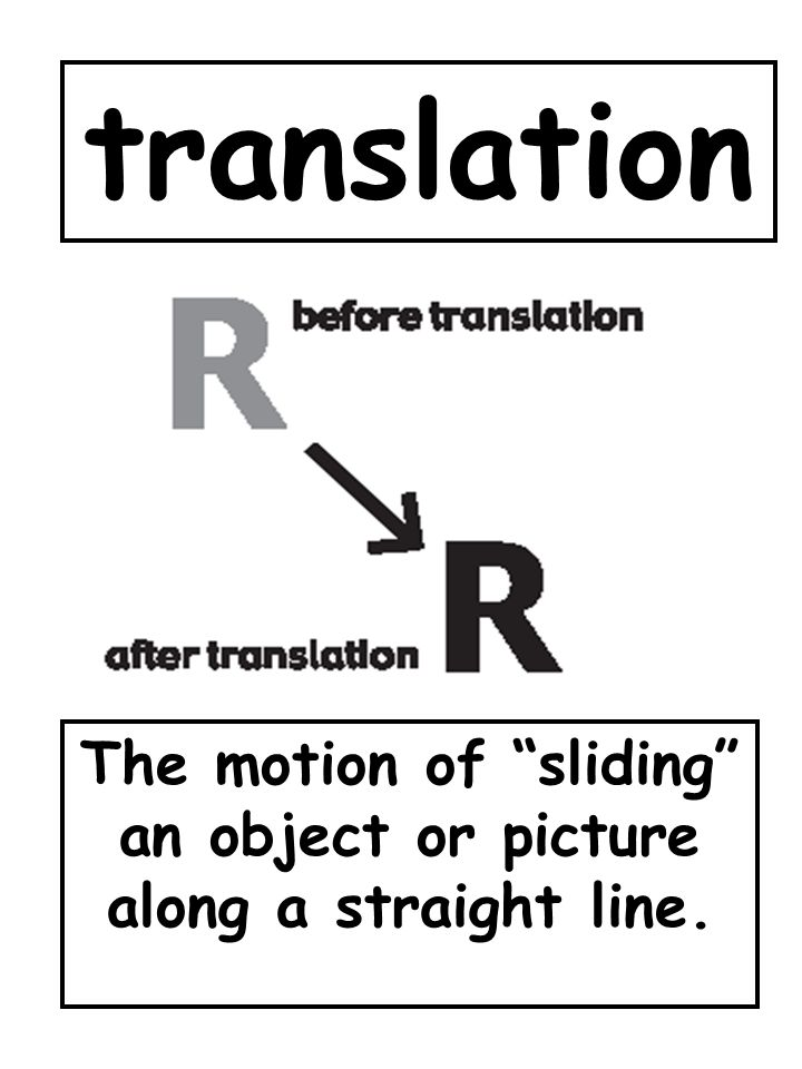 translation The motion of sliding an object or picture along a straight line.