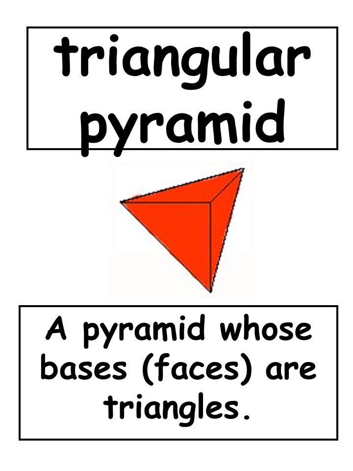 triangular pyramid A pyramid whose bases (faces) are triangles.