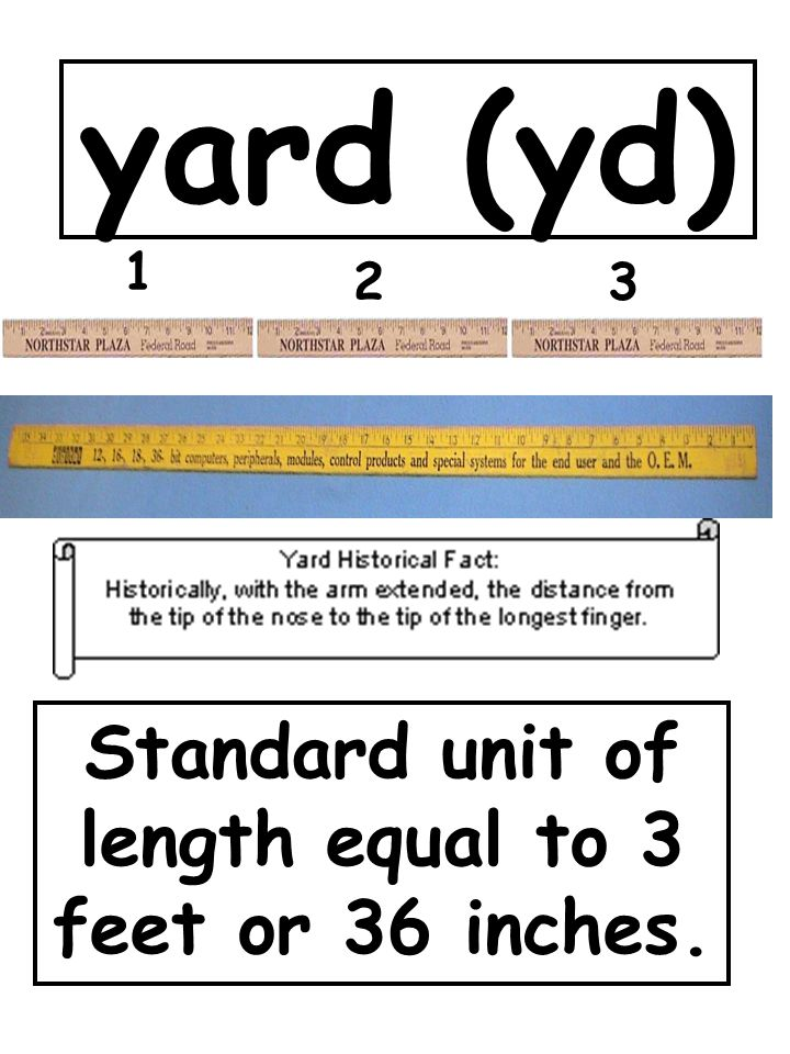 yard (yd) Standard unit of length equal to 3 feet or 36 inches. 1 23