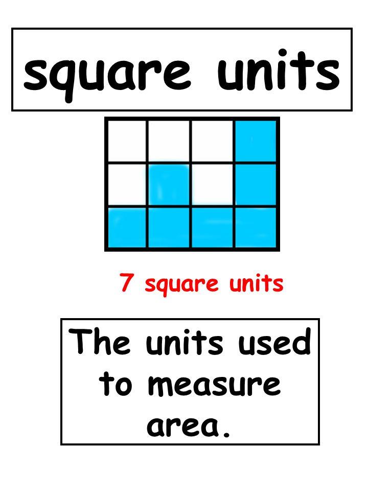 square units The units used to measure area. 7 square units