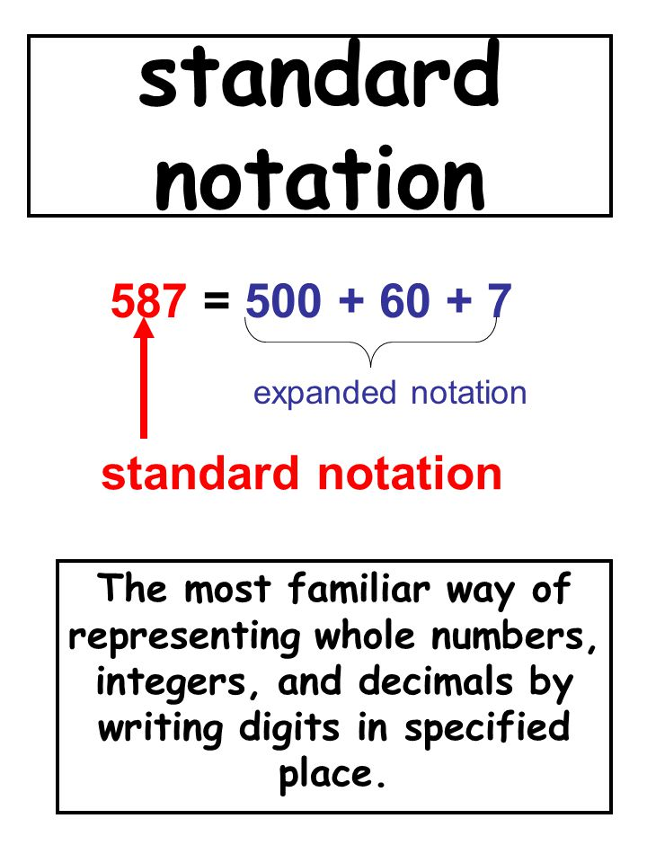 standard notation The most familiar way of representing whole numbers, integers, and decimals by writing digits in specified place. 587 = 500 + 60 + 7