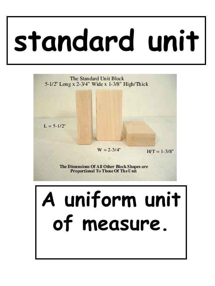 standard unit A uniform unit of measure.