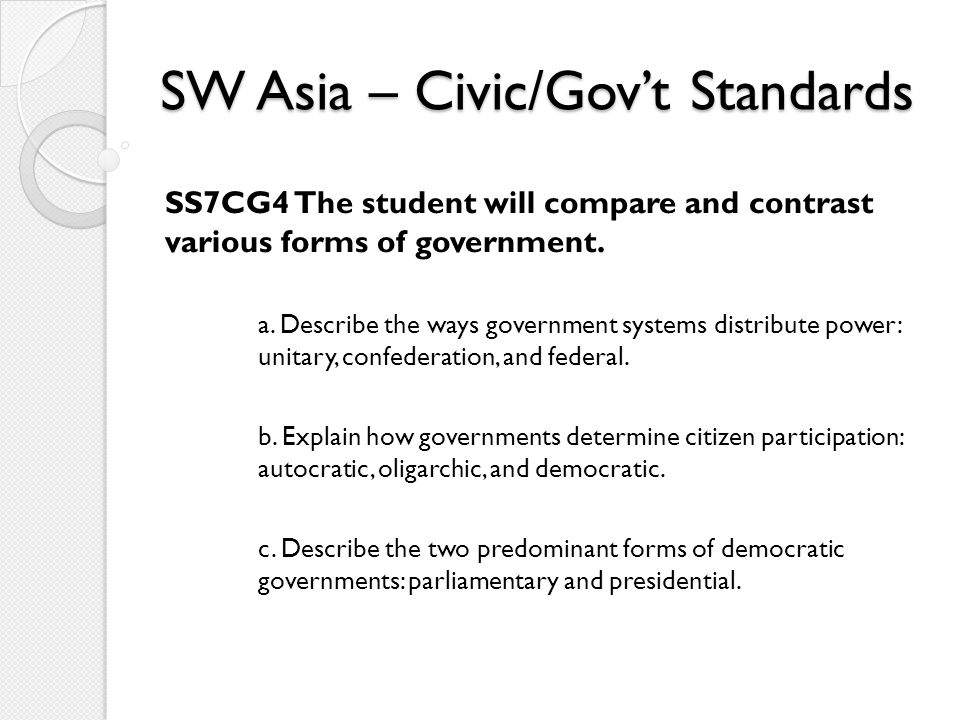 SW Asia – Civic/Gov't Standards SS7CG4 The student will compare and contrast various forms of government. a. Describe the ways government systems dist